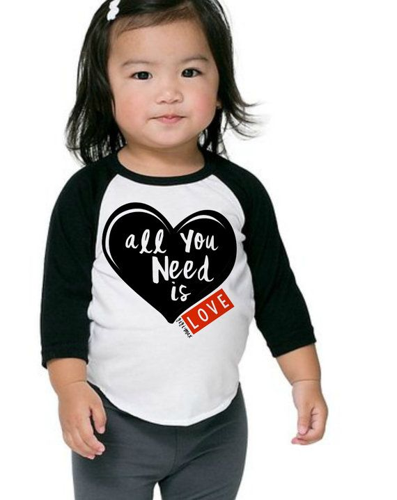 72d12cb41 Valentine raglan All you need is love tshirt, valentines shirt for boys and  girls,infant love, toddler spring tee, beatles shirt,