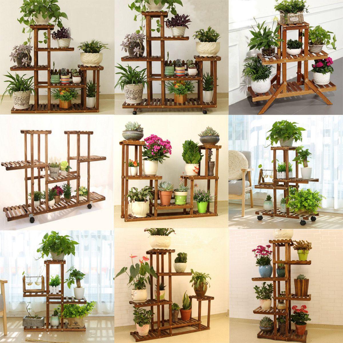 Hallolure Wooden Plant Stand Indoor Outdoor Patio Garden Planter