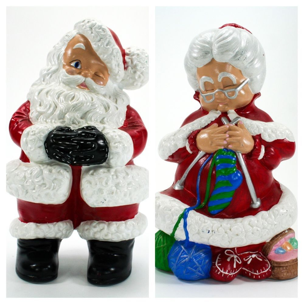 Mr Mrs Santa Claus 14 Hand Painted Ceramic Set Atlantic Mold Vintage Hand Painted Ceramics Santa Ornaments Holiday Crafts