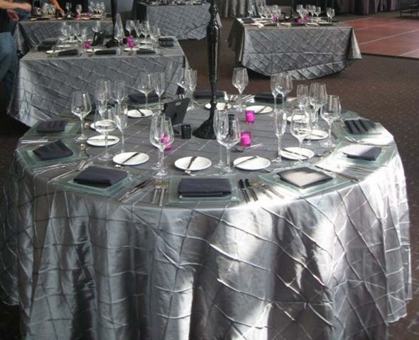 Weu0027re Going To Be Using Gray Pintuck Tablecloths For All The Guest Tables!