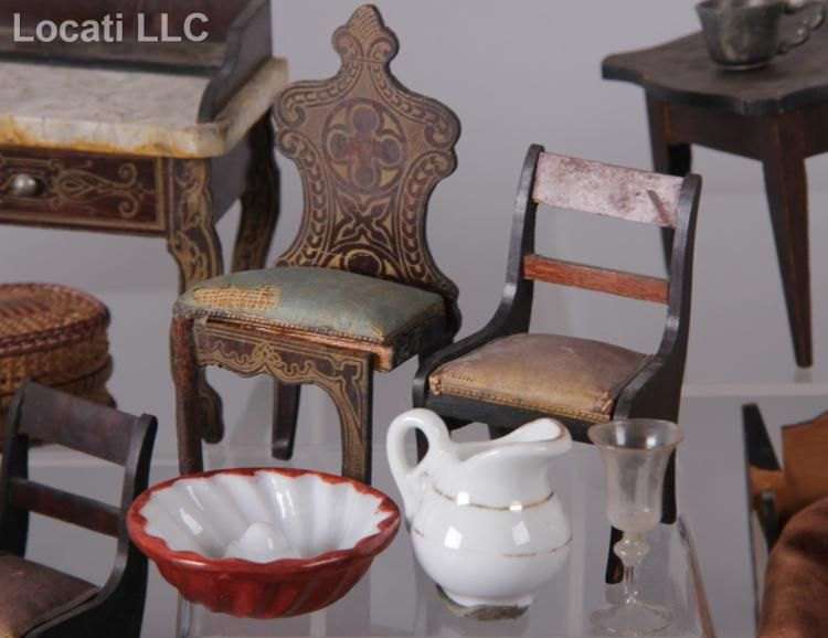 A Group of 19th Century American Dollhouse Furniture and Accessories