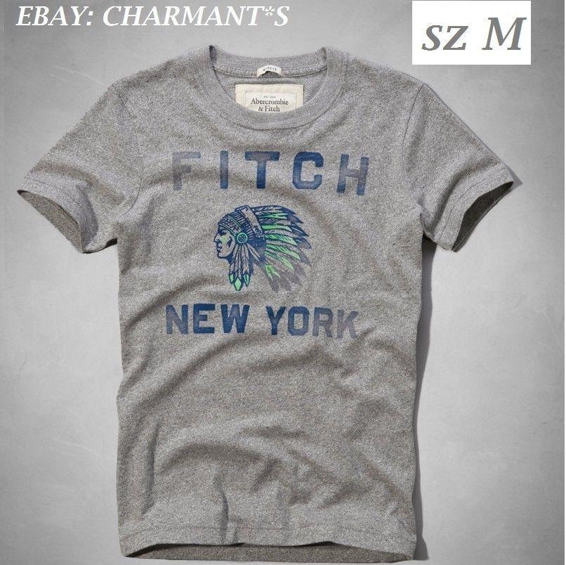 823dc99b2b Abercrombie   Fitch Vintage New York Mountain Indian Gray T shirt sz M   abercrombie  NY