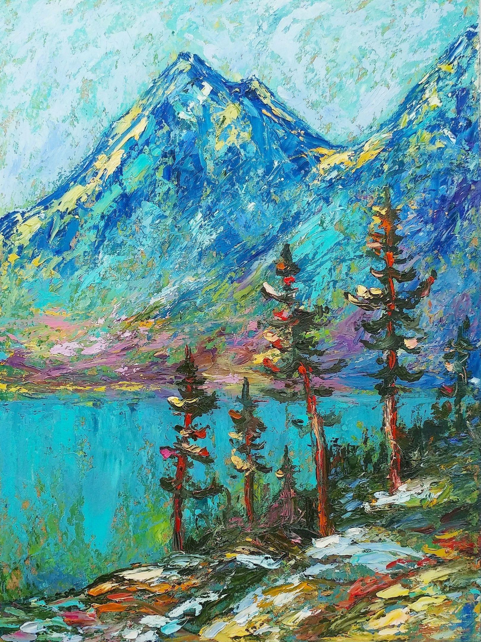 Kartina Maslom Gornyj Pejzazh Spokojstvie Gor Aukcion Na Bemypaint Landscape Oil Paintings Mountain Mountain Paintings Amazing Art Painting
