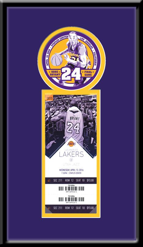 Kobe Bryant Final NBA Game Single Ticket Frame Lakers | LAKER FANS ...