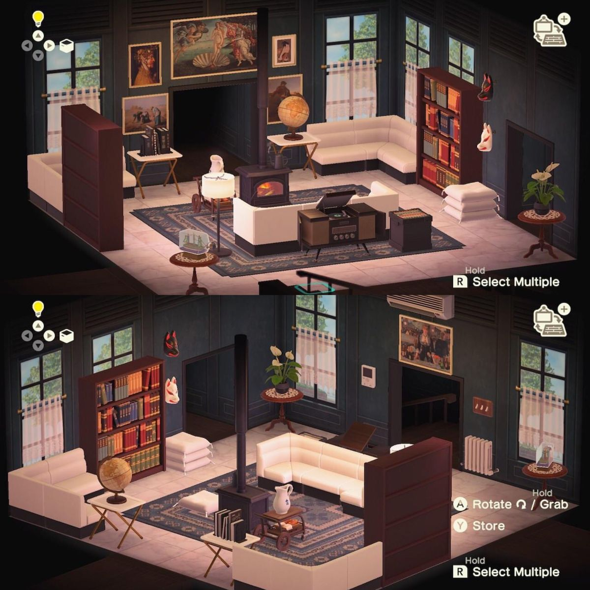 Acnh Art Library And Lounge In 2020 Animal Crossing 3ds An