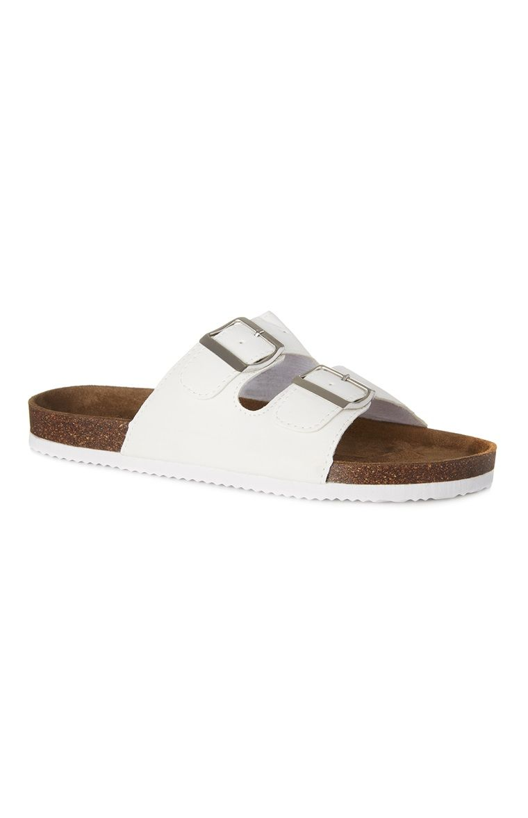 White Double Strap Footbed Sandals