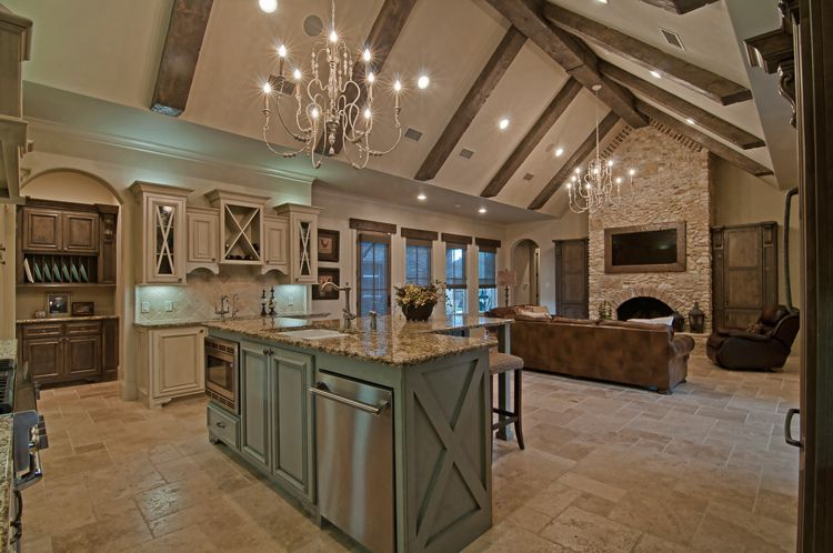 Kitchen living room interior hill country home builder Custom home interior design