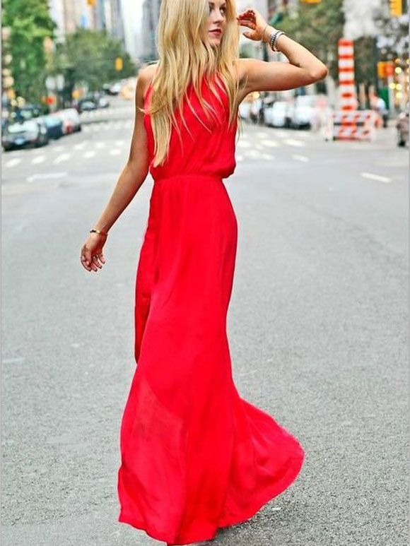 goed uit x nieuwe high goedkoop kopen Fashion Fix: lange rode jurk | fashion - Jurken, Zomer maxi ...