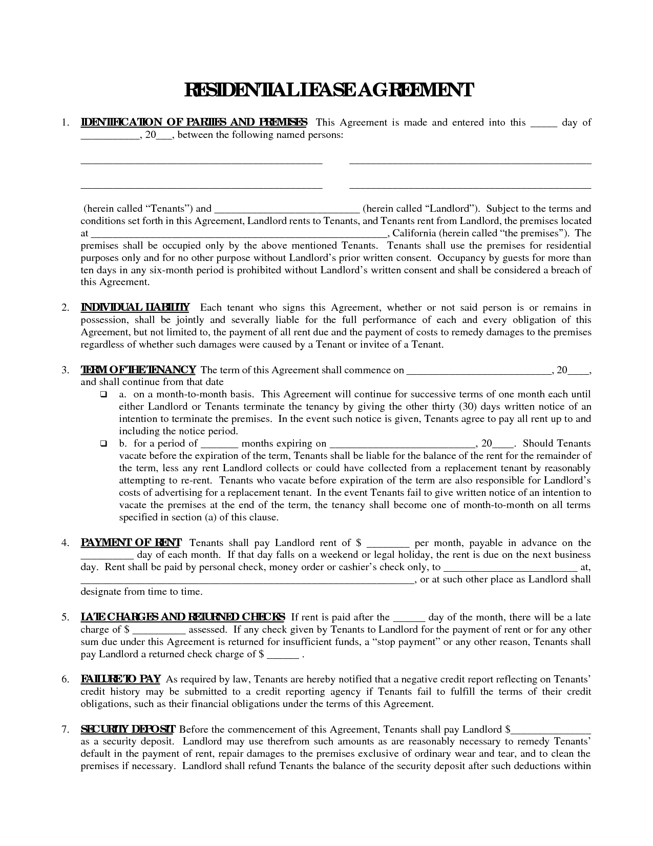 Printable Residential Free House Lease Agreement Residential Lease