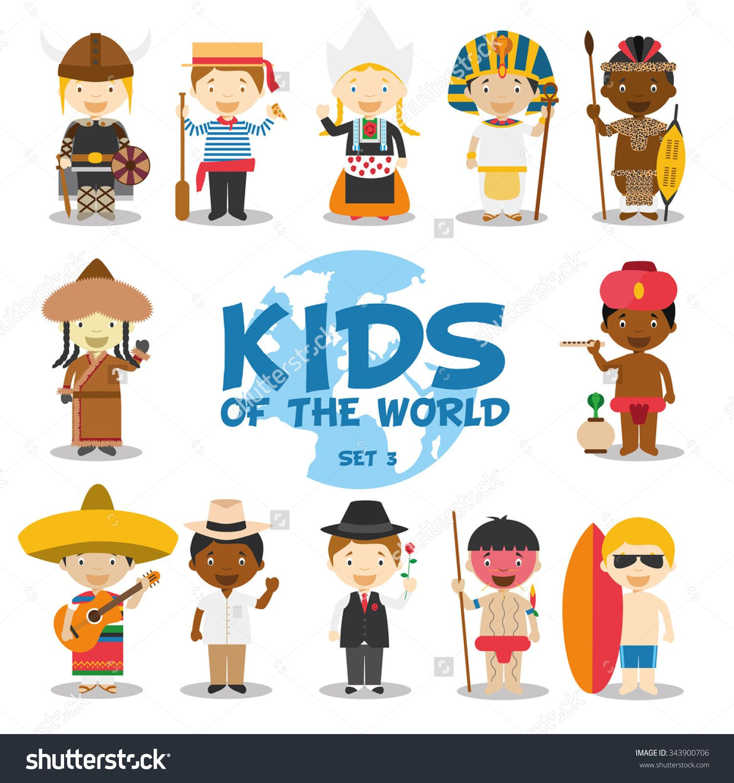 Kids Of The World Vector Illustration Nationalities Set 3