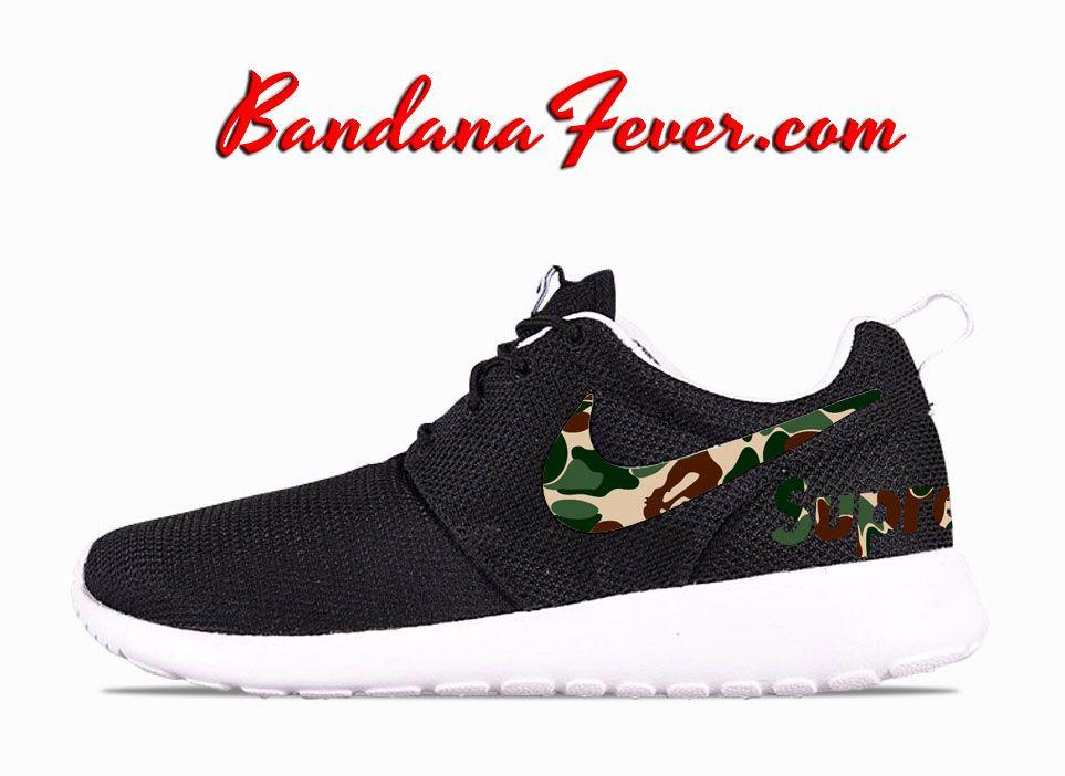 Custom Supreme x Bape Camo Nike Roshe Run Shoes Black, #bape, by Bandana