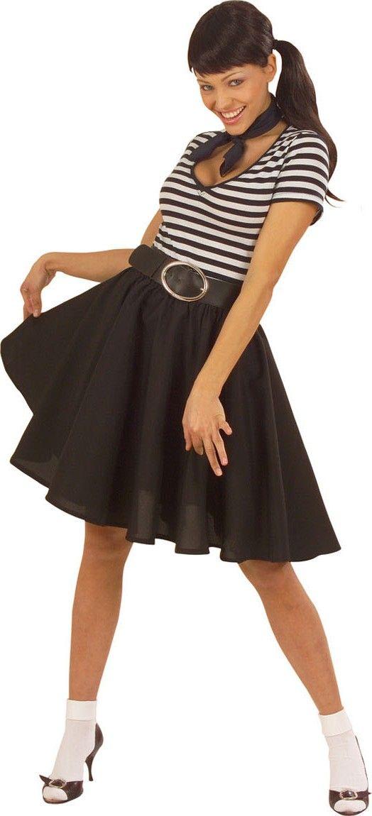 0892bdb36d3 Falda rock'n roll negra mujer: Esta falda negra tiene corte ancho (sólo  está incluida la falda).La cintura es elástica y sujeta el tul negro.