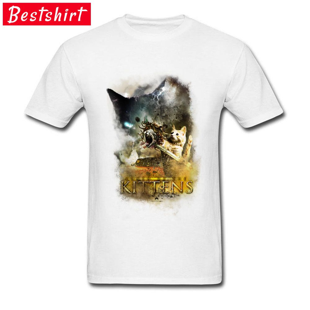 1d8c85502094  8- 12 Free Shipping Mens Funny T Shirts On Sale Clash of the Kittens Summer