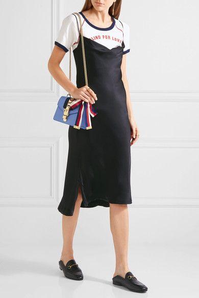 Sylvie Mini Embellished Leather Shoulder Bag - Black Gucci u329b0j9i