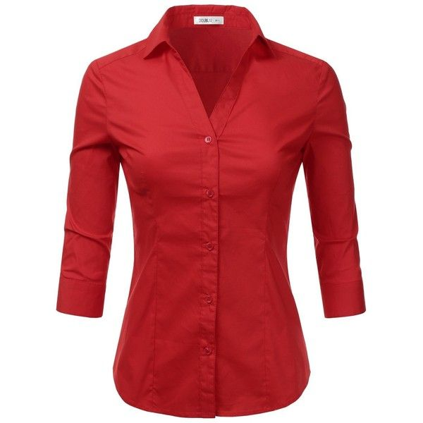 41ef3962 Doublju Basic 3/4 Sleeve Cotton Button Down Collared Shirts For Women.