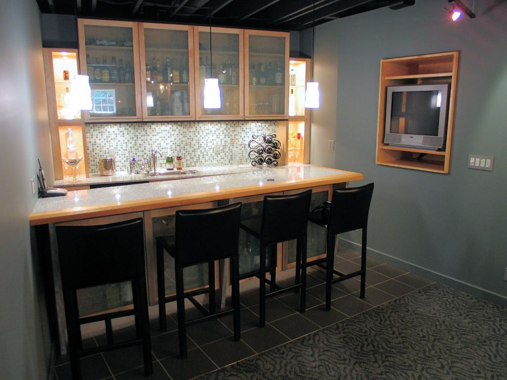 Modern Basement Wet Bar. industrial basement designs  Modern Basement Finish for a New Geist Home