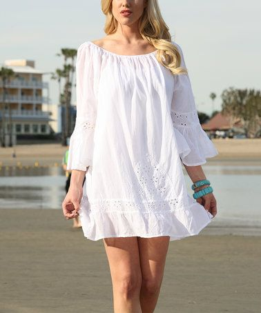 White Eyelet Bell-Sleeve Off-Shoulder Dress by Ananda's Collection #zulily #zulilyfinds