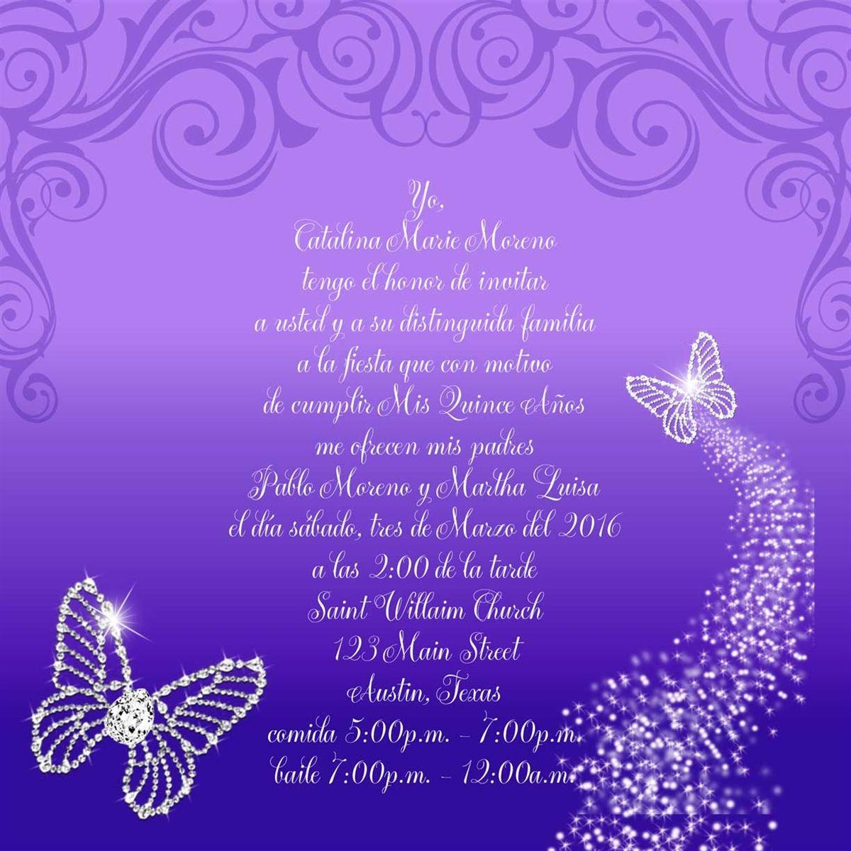Bling butterflies quince invitation quinceanera invitations and bling butterflies quince invitation stopboris Choice Image
