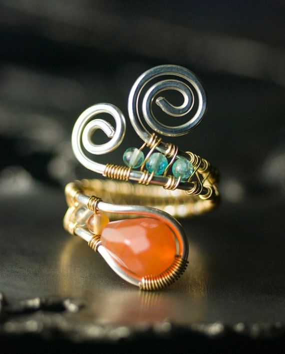 Red Agate Ring, Silver, Gold, Gemstone, Argentium Silver, Copper ...