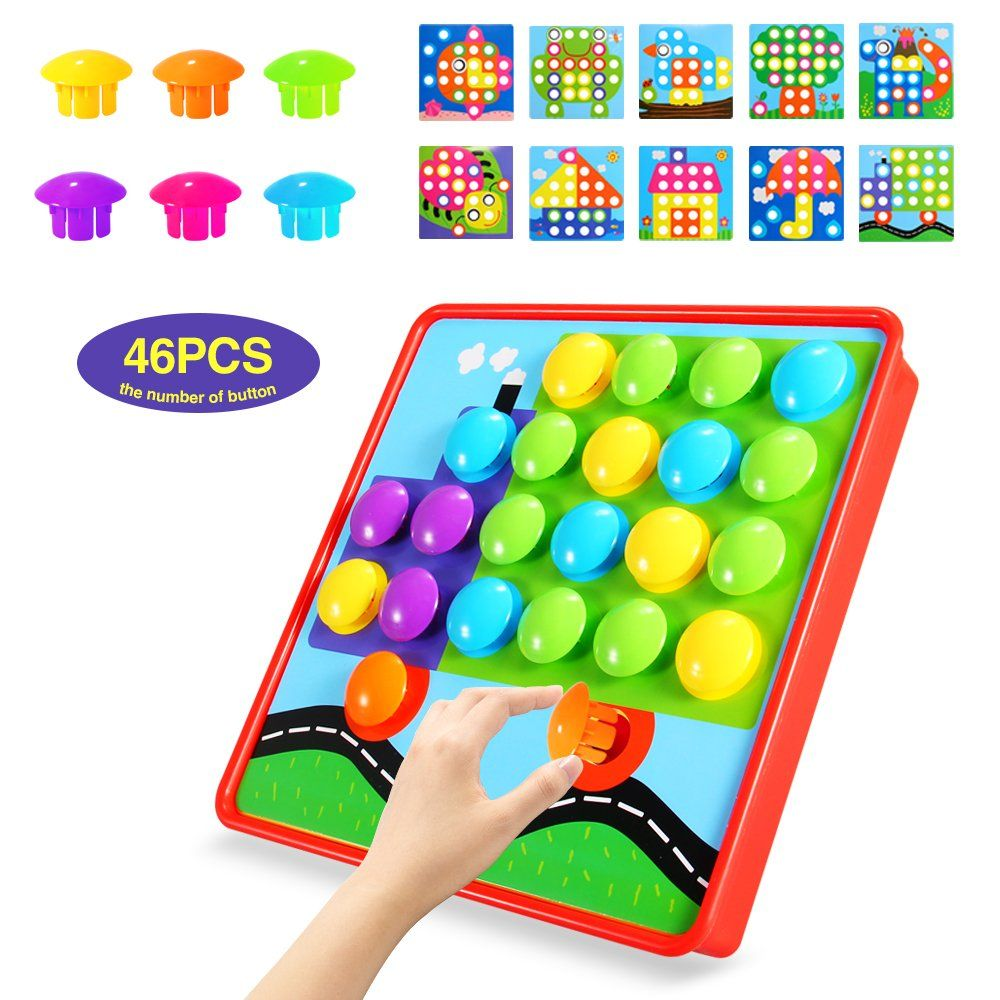 Geekper Button Art Color Matching Mosaic Pegboard Set Early Learning ...