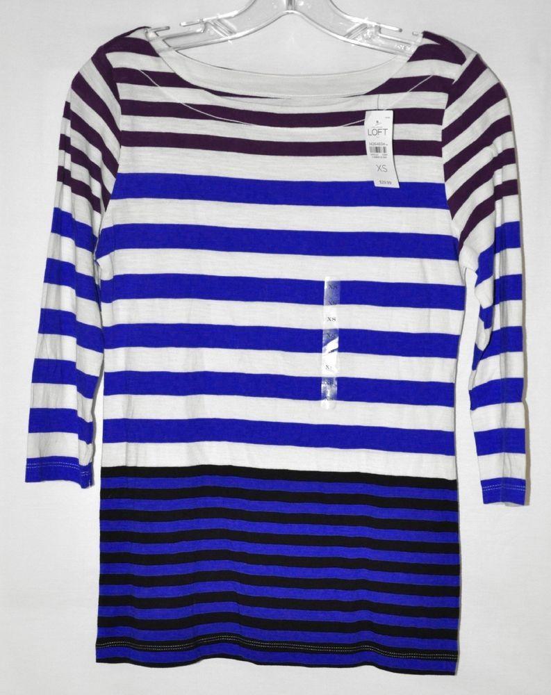 Ann Taylor Loft Striped Knit Top 3/4 Sleeve White, Blue, Purple Sz ...