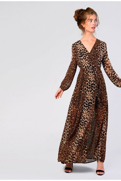 756285044a1 Womens   Leopard Print Maxi Dress By Glamorous - Brown in 2019 ...