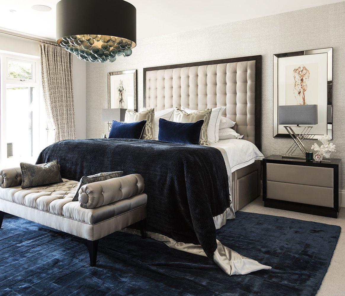 MODERN LUXURY MASTER BEDROOM: Luxury upholstered headboard with