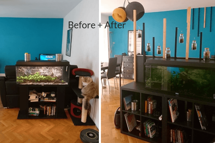 Easiest Fish Tank Stand Ever And Diy Room Separator Ikea Hackers Fish Tank Stand Tank Stand Loft Bed Frame