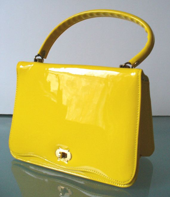 91823192a8 Vintage Lemon Yellow Patent Leather Kelly Bag by TheOldBagOnline, $36.99