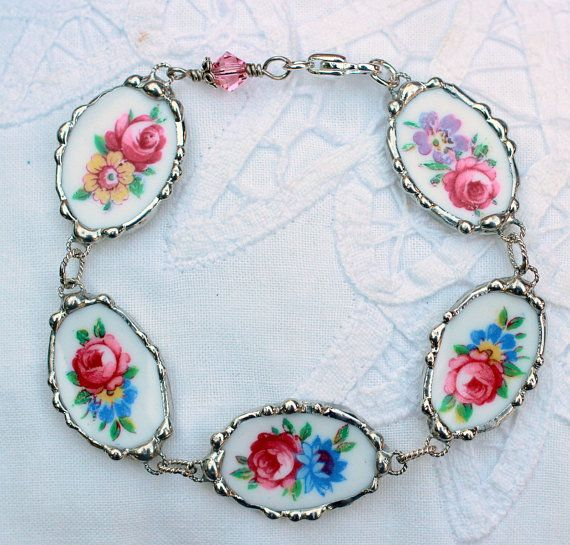 Broken China Jewelry Bracelet Floral china by Robinsnestcreation1, $120.00