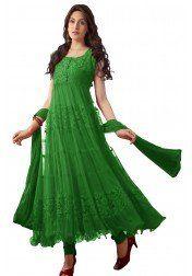 Designer green Net & Brasso Anarkali Suit at just Rs.699/- on www.vendorvilla.com. Cash on Delivery, Easy Returns, Lowest Price.