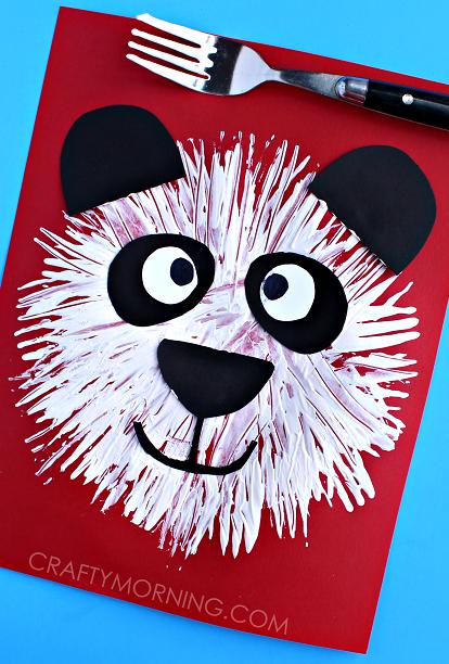 Fork Print Panda Bear Kids Craft - Crafty Morning #animalcrafts