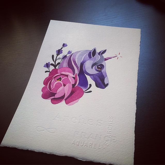Peony Unicorn Lavender Sashaunisex Watercolor Tattoos