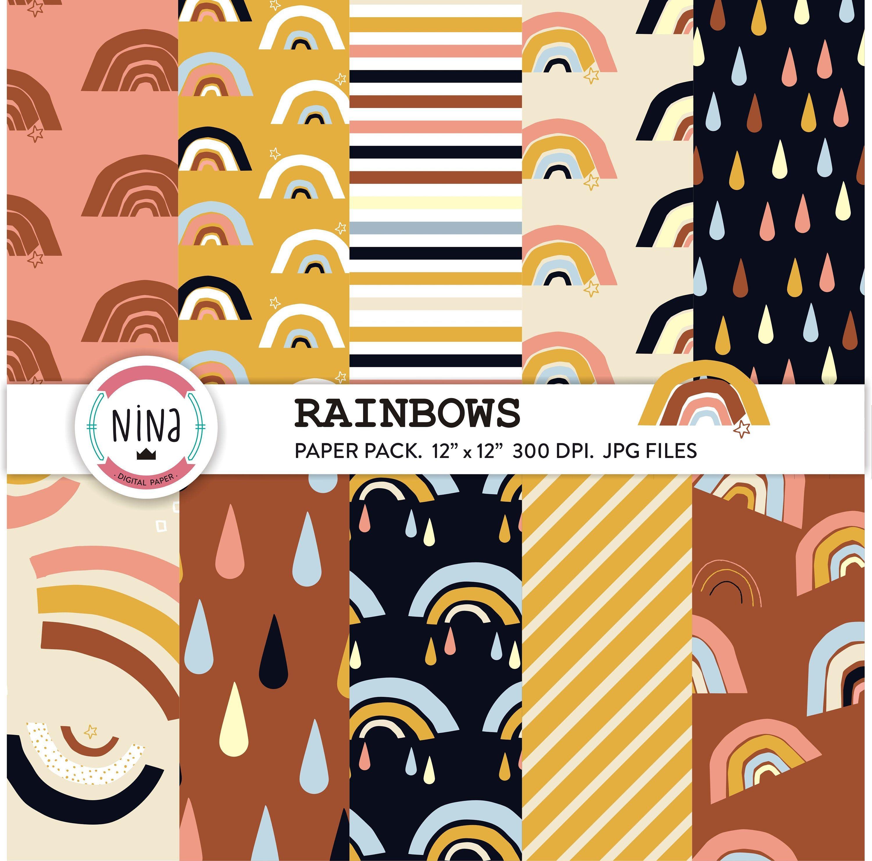 Modern Rainbow Digital Paper Pack Rainbow Drops Minimal Etsy In 2020 Digital Scrapbook Paper Digital Paper Digital Paper Pack