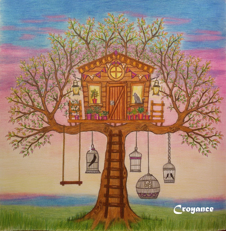 domek ve stromě Secret Garden | my colouring book Secret Garden and ...