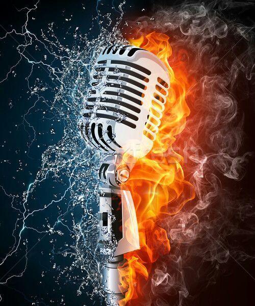 Resultado De Imagem Para Microphone On Fire Music Poster Music Power Microphone