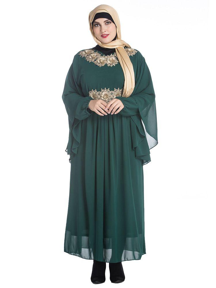 c9445de69fd9 New Design Islam Women Bat Sleeve Muslim Long Dress In Malaysia Chiffon  Simple Plain Plus Size Green Black Muslim Long Dress