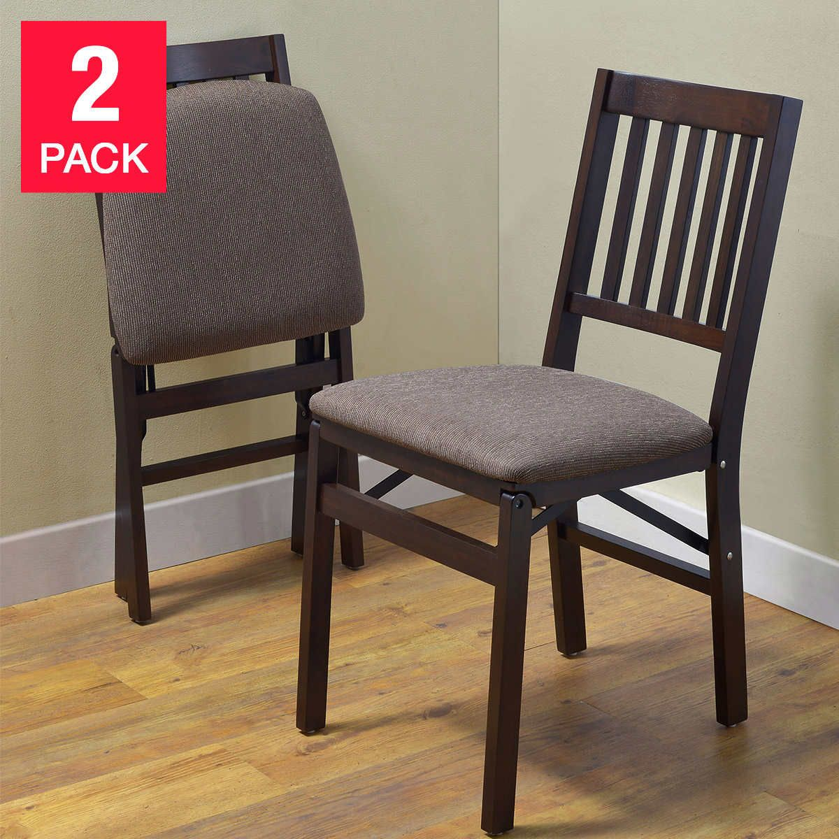 Stakmore Solid Wood Folding Chair, Espresso Finish, 2pk