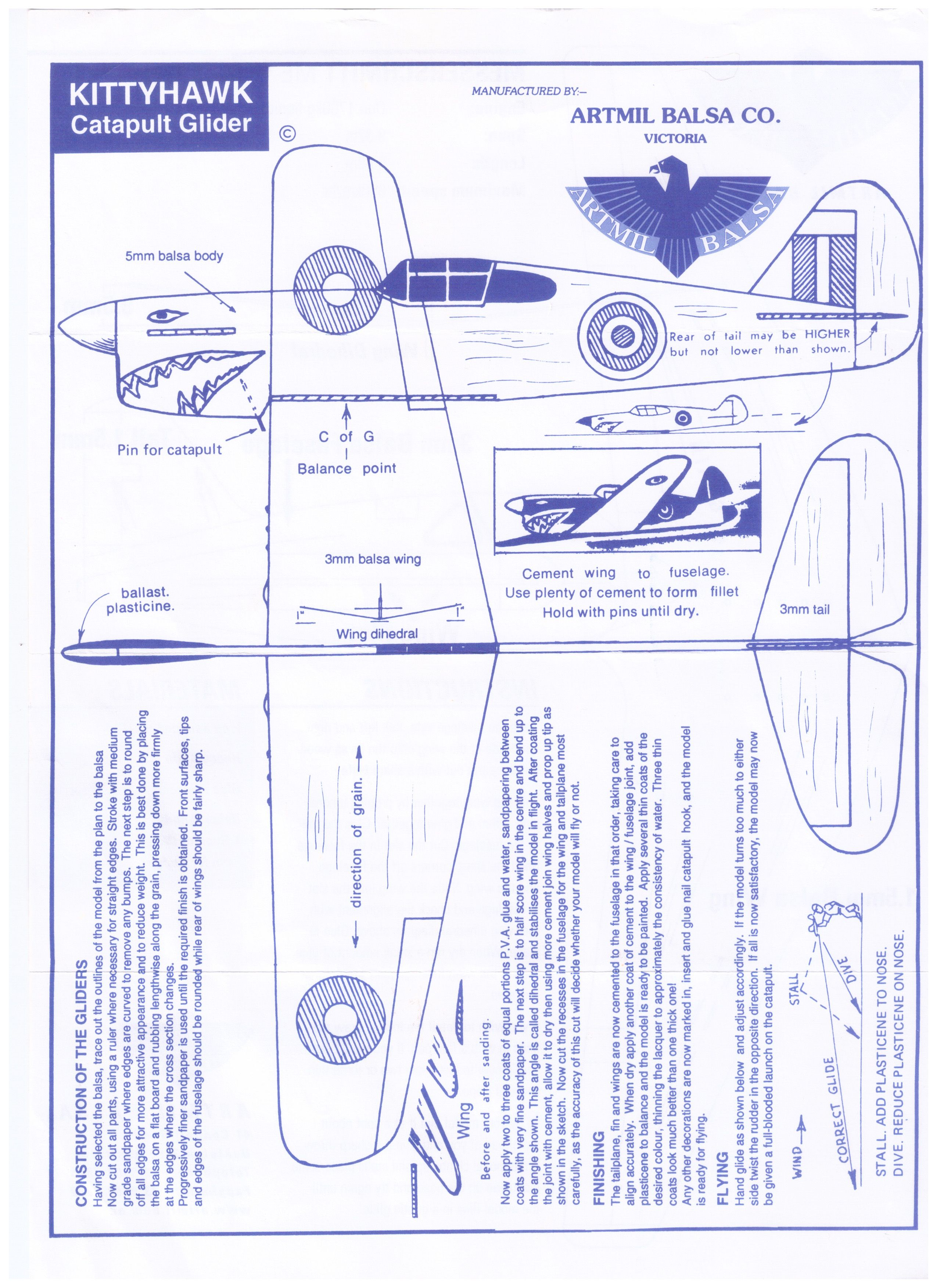 Make Your Own Balsa Plane Instructions Or Print Out And