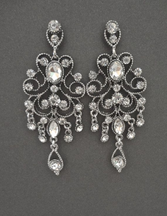Crystal Chandelier Earrings Antiqued Victorian Vintage Style Wedding Brides A Dress Pinterest