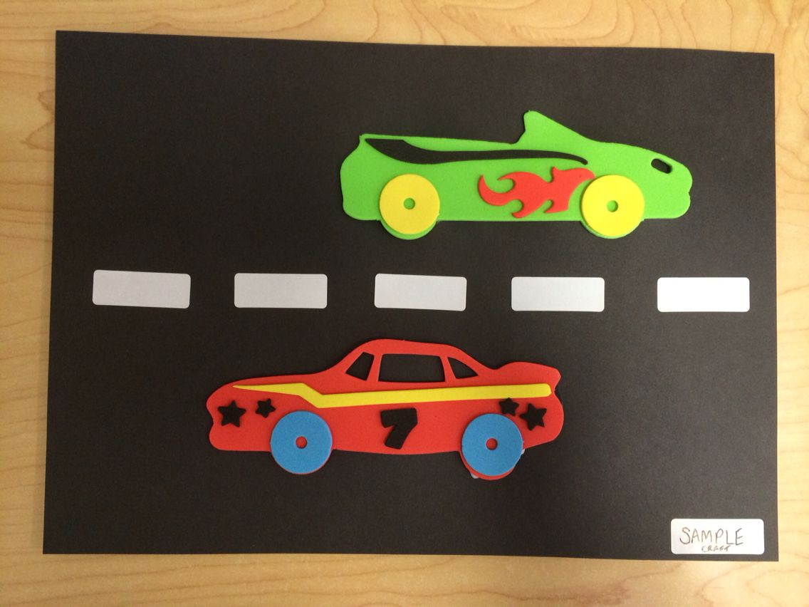 Sticky paper for crafts - Car Craft Made By Gluing Foam Cars Onto Black Paper And Using White Stickers For The