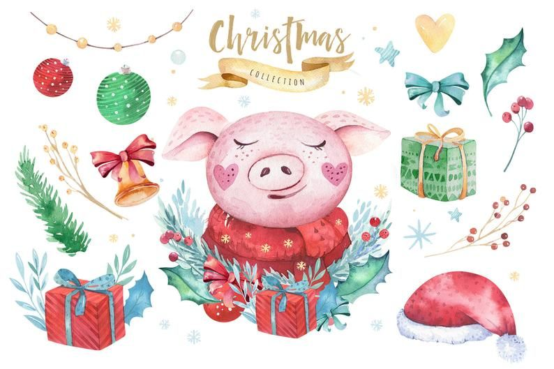 Watercolor cute marry Christmas clipart clip art animal