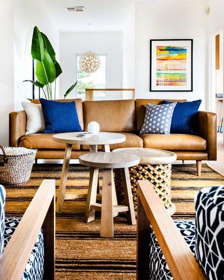 un salon en marron et bleu salons living rooms and room. Black Bedroom Furniture Sets. Home Design Ideas