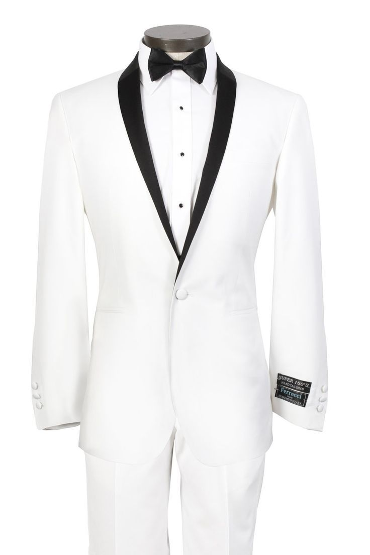 custom made white wedding tuxedo for men with black shawl lapel