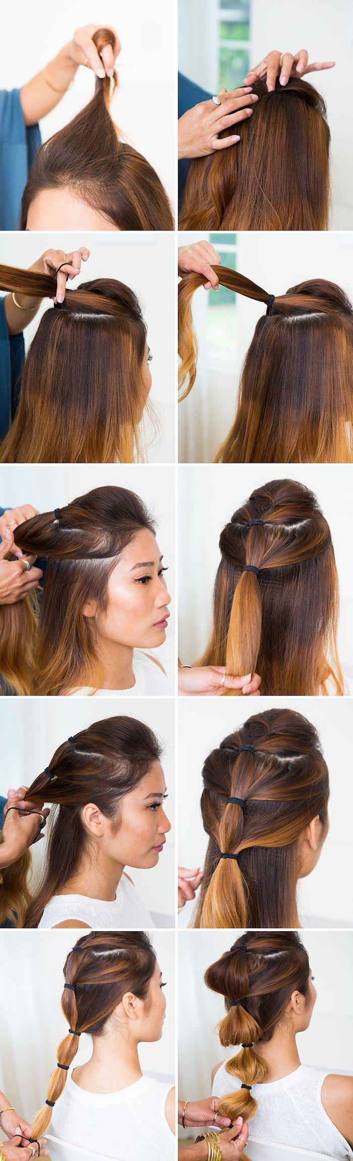 hairstyles long hair brown hair in ombre look bubble braid make yourself   Braids tutorial Braids tutorial