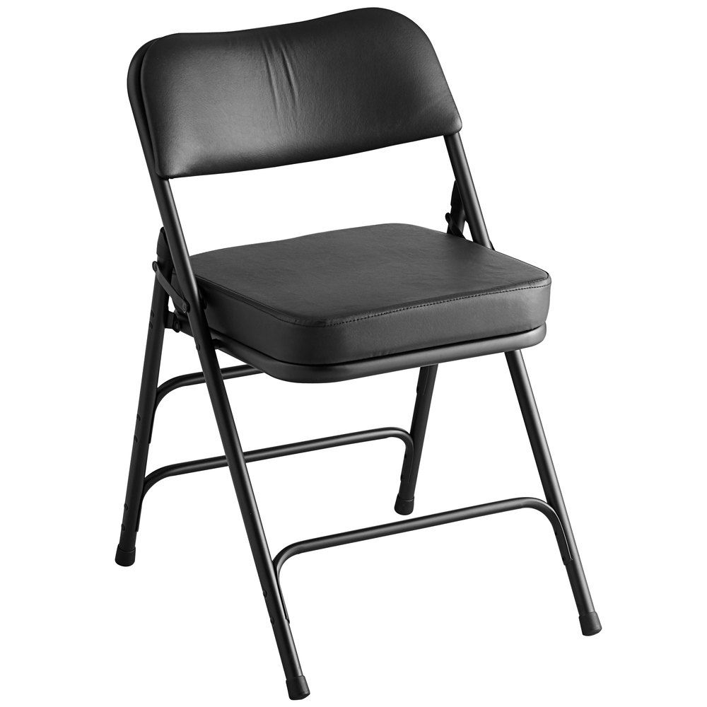 Lancaster Table Seating Black Vinyl Folding Chair With 2 Padded