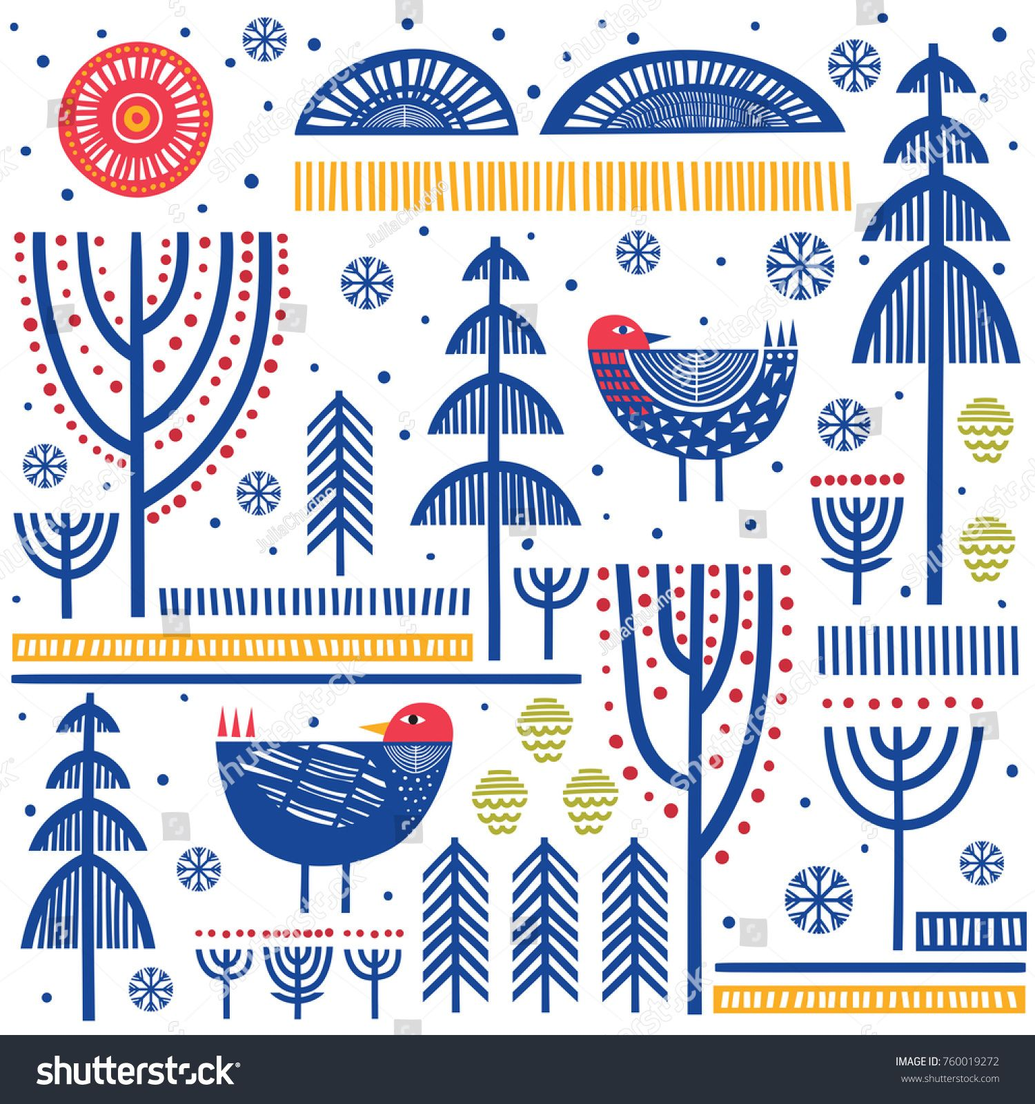 Folk Art Pattern In Scandinavian Nordic Style Scandinavian Folk Art Modern Folk Art Pattern Art