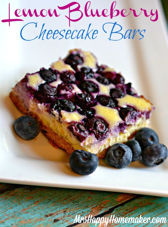 Lemon Blueberry Cheesecake Bars - Mrs Happy Homemaker #lemonblueberrycheesecake Lemon Blueberry Cheesecake Bars - Mrs Happy Homemaker