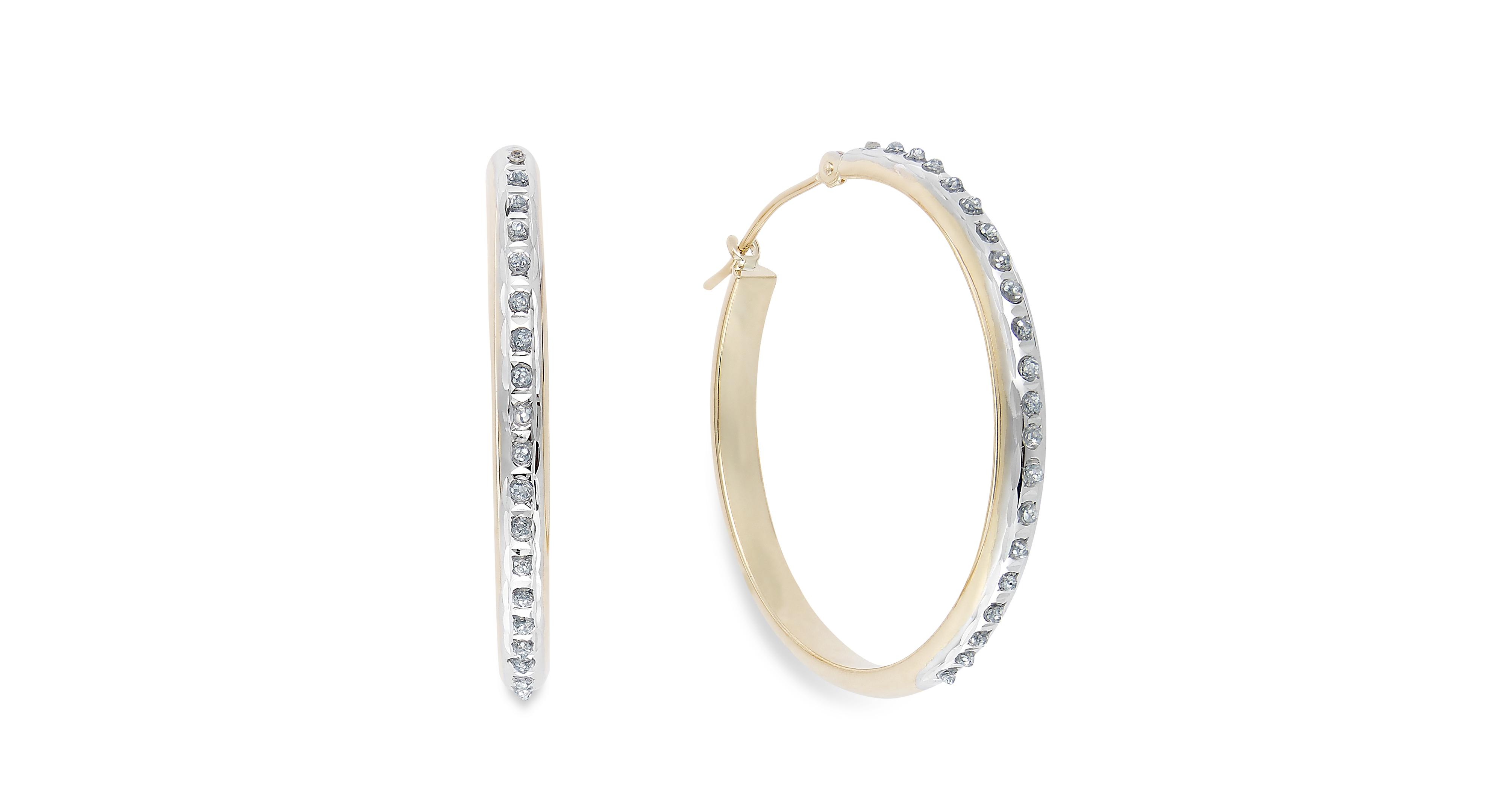 Diamond Accent Hoop Earrings in 14k Gold