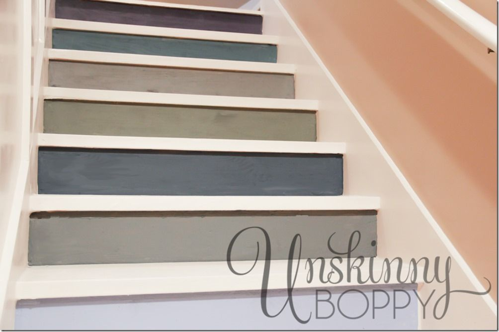 Lighting Basement Washroom Stairs: Colorful Painted Staircase Ideas